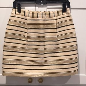 J. Crew Metallic Gold and Charcoal Skirt